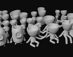 Pack with 17 potted plants and 1 3D printable model 2