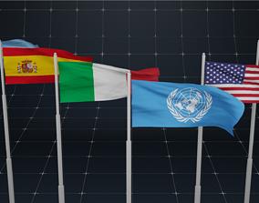 animated PBR National Flag Pole 3D model animated
