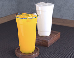 Orange Squash and Milk Tea With Plastic Cup 3D