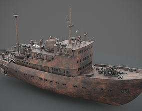 3D model Old rusted abandoned vessel