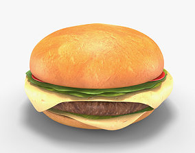 Low Poly Hamburger 3D asset