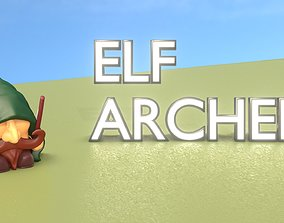 Gnome Elf Archer - Funny Sneaky Bowman 3D model game-ready