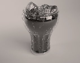 Ice-cold frosted glass of coke 3D model