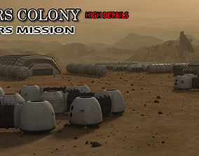 space 3D model Mars City Colony