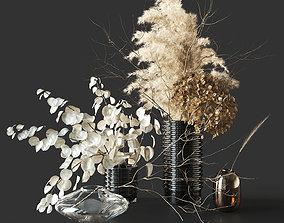 vase 3D model Dry bouquet