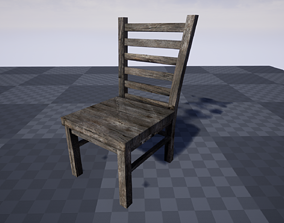 3D model game-ready Medieval Chair
