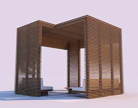 Modern Wooden Pergola 3D model