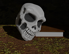 3D asset low-poly zombie Skull