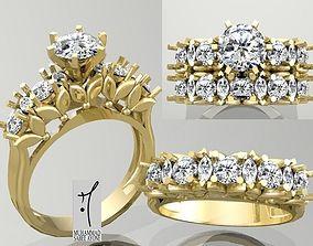Gold Ring 3D print model engagement-ring