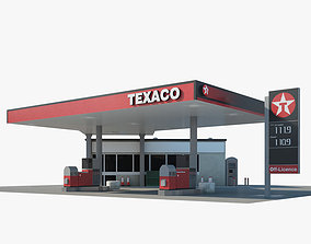 3D Texaco gas station 01