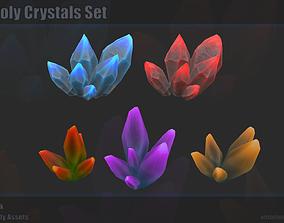 3D asset low-poly Crystal Set