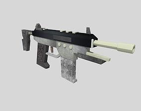 3D model no brand low poly submachine gun 1