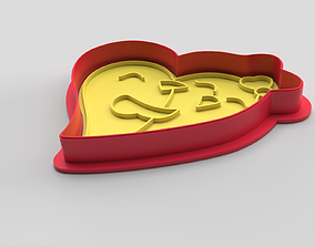 3D print model Cookie cutter and stamp - Heart and love