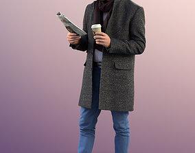 11309 Jason - Man standing coat winter reading 3D asset 1