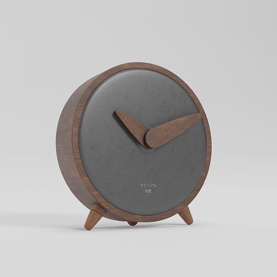 table clock wooden walnut