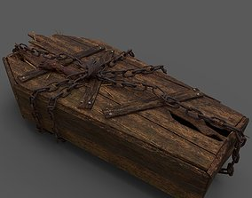 Wooden Coffin With Hand 3D model