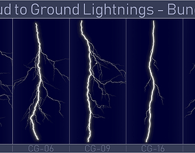 Realistic Lightnings Bundle 02 - 5 pack CG 3D model