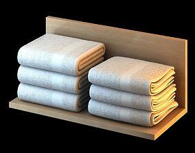 White Folded Towels 3D model