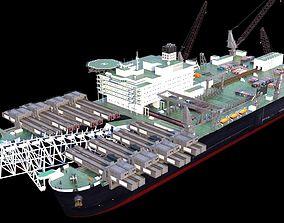 3D model Pipelay vessel catamaran