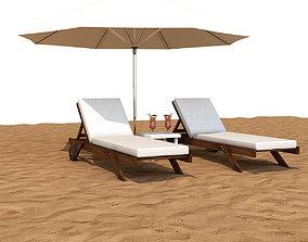 3D asset Sunbed With Umbrella
