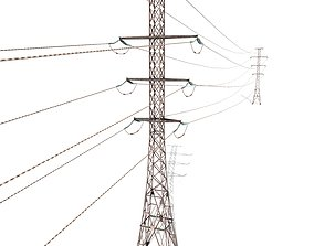 Electricity Pole 26 Weathered 3D model