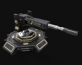 Low Poly Sci-Fi Turret V2 UPDATED 3D asset