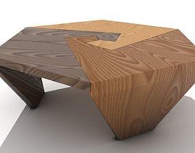 Interlocking Wooden Swirls Coffee Table 3D model
