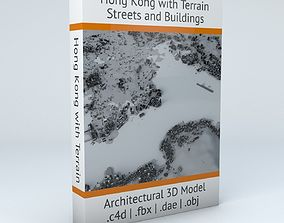 Hong Kong Districts Streets and Buildings with Terrain 3D