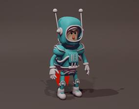 Cartoon Astronaut 3D Model spacesuit