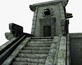 3D model Aztec temple with stairs