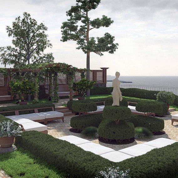 Estate Project. Garden - Sea view.