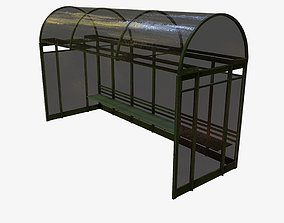 Low Poly PBR Bus Shelter 3D model