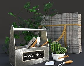 Garden tools decor set 3D model