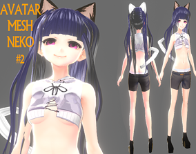 ASIAN GIRL CAT 3D MODEL RIGGED T POSE SHAPE rigged 2