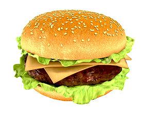 Photorealistic hamburger 3D