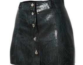 Skirt Shiny Black Reflective Women Clothing 3D asset
