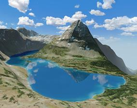 Glacier National Park Bearhat Mountain Lake 3D