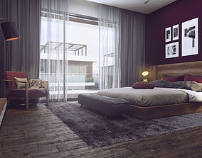 Nice Bedroom 3D Model Vray Settings and PSD File