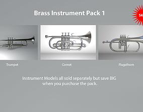 Brass Instruments Pack 1 Trumpet Cornet and Flugelhorn 3D