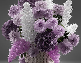 3D model Bouquet of flowers in a basket 5