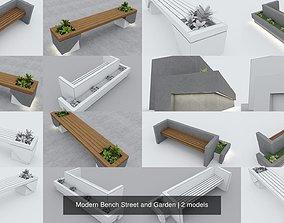 3D Modern Bench Street and Garden