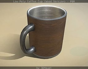 Coffee Cup Wood Version - Gameready - PBR 3D asset