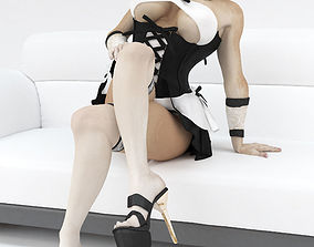 Female french maid rigged 3D