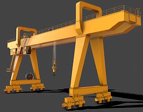 PBR Double Girder Gantry Crane V2 - Yellow 3D asset