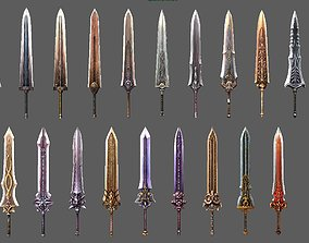 synthetic heavy sword 3D asset