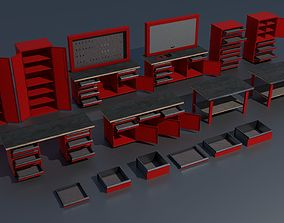 Workshop PBR closets benches boxes and tables 3D