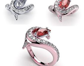 Women Ring Jewelry Pear Shape 3D Design-R2