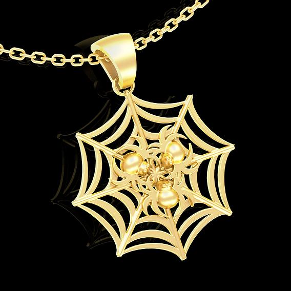 Spider Pendant jewelry Gold 3D print model
