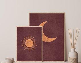 3D printable model Boho Sun and Moon Print Set of 2 2