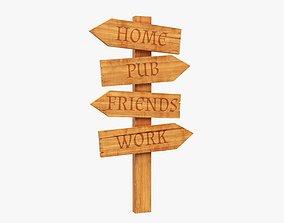Signboards wooden 02v2 3D model